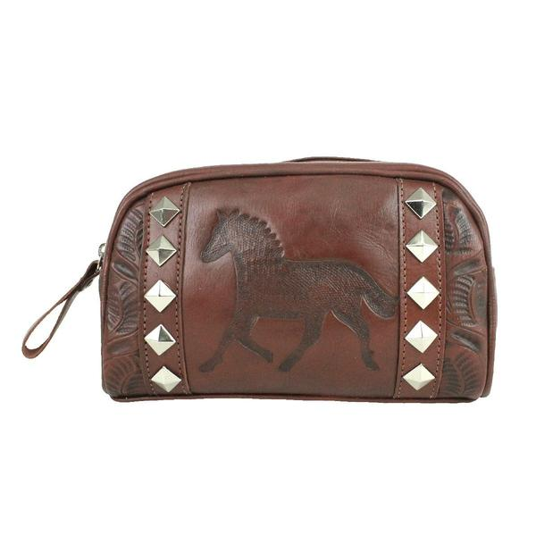 A American West Handbag Hitchin' Post Collection: Leather Cosmetic Case Running Horse Brown