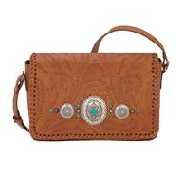 A American West Handbag Lariat Love Collection: Leather Crossbody Wallet Golden Tan