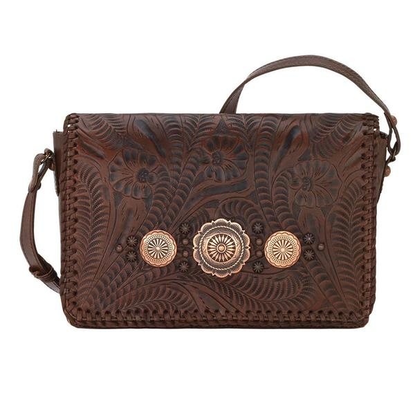 A American West Handbag Lariat Love Collection: Leather Crossbody Wallet Chestnut Brown