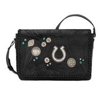 A American West Handbag Lariat Love Collection: Leather Crossbody Wallet Black