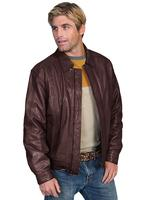 Scully Men's Leather Jacket: Casual Lambskin Zip Front Chocolate