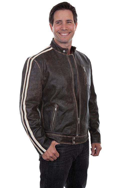 Scully Men's Leather Jacket: Casual Calf Motorcycle Racer Vintage Black Big