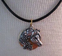 Cowgirl Heart Jewelry: Arabian on Brass on Leather