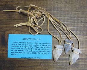 A Iroquois Necklace: Arrowhead on Leather