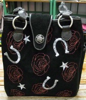 ZSold Scully Suede Shoulder Bag: Roses and Horseshoes SOLD