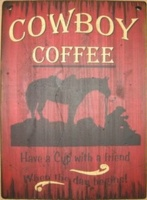 ZSold Cowboy Brand Furniture: Wall Sign-Cowboy-Cowboy Coffee Large