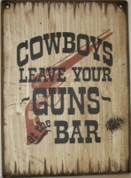 Wall Sign Saloon: Cowboys Leave Your Guns At The Bar Large