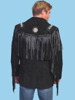 Scully Men's Leather Jacket: Fringe Suede Button Front Jacket Black Big