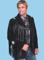 Scully Men's Leather Jacket: Fringe Suede Button Front Jacket Black Big and Long Sizes