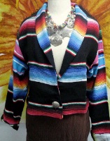 A Sarape Girl: Bolero Jacket Black S/M, L/XL