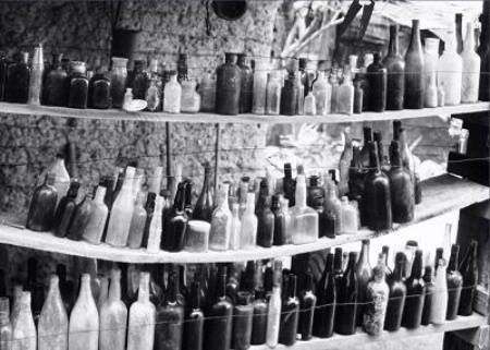 Photographer In The Lens, Bill Birkemeier: Art Print Ghost Town Bottles B&W