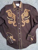 ZSold Rockmount Ranch Wear Ladies' Vintage Western Shirt: Leather Applique Brown or Black Limited Sizes SOLD