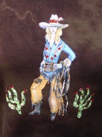 Jack Flash Tees: Cowgirl Cactus Kate  SS, Tank S-2XL