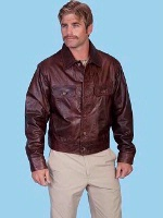 Scully Men's Leather Jacket: Casual Denim Style Lamb Chestnut S-2X