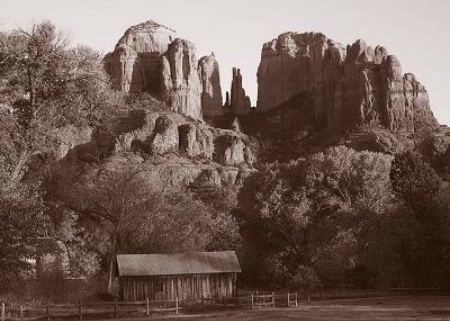 Photographer In The Lens, Bill Birkemeier: Note Card Sedona, Cathedral Rock and Mill Sepia