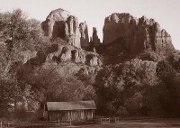 Photographer In The Lens, Bill Birkemeier: Art Print Sedona, Cathedral Rock and Mill Sepia