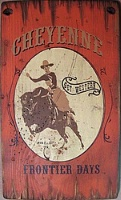 Cowboy Brand Furniture: Wall Sign-Rodeo-Cheyenne Buffalo Frontier Days