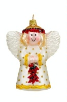 ZSold Artistry of Poland Ornament: Angel White with Chilis SOLD