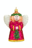 ZSold Artistry of Poland Ornament: Angel Pink with Christmas Tree SOLD