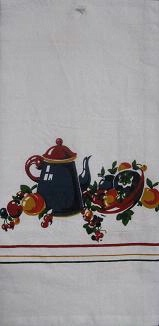 Red and White Kitchen Flour Sack Towel: Coffee Break Time SALE
