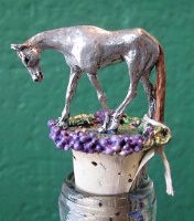 A Wine Cork: Pewter Pleasure Horse Brown Tail