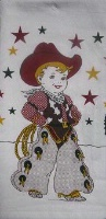 ZSold Red and White Kitchen Flour Sack Towel: Little Cowboy SOLD