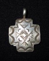 Silver Sun: Pendant Cross Four Directions Stamped
