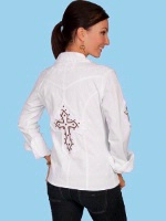 ZSold Scully Ladies' Cantina Collection Blouse: Long Sleeve Cross on Back and Sleeve White XS-L SOLD