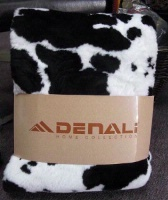 A Denali® Western Collection: Black & White Cow Reverse Black Throw Blanket DEAL