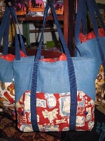 Tote Bag by J.D.Designs: Denim with Saddles Print