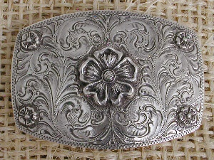 Silver King Buckle: Dog Rose Flower Tophy Buckle Special Order