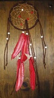ZSold Cherokee Rebecca Wood: 5in Medium Dream Catcher Red Feathers SOLD