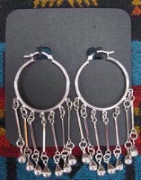 ZSold Laura Ingalls Designs: Earrings Hoops w Silver Teardrops and Links SOLD