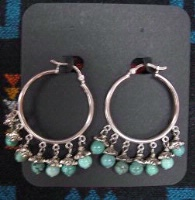 ZSold Laura Ingalls Designs: Earrings Hoops Turquoise Pewter Bead Caps SOLD