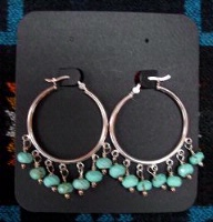 ZSold Laura Ingalls Designs: Earrings Hoops Turquoise Faceted SOLD