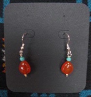 ZSold Laura Ingalls Designs: Earrings Wires Carnelian and Turquoise SOLD