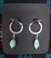 ZSold Laura Ingalls Designs: Earrings Hoops Turquoise Nuggets SOLD