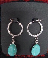 ZSold Laura Ingalls Designs: Earrings Hoops Turquoise Howlite Teardrops and Swirls SOLD