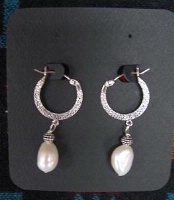 ZSold Laura Ingalls Designs Earrings Hoops Pearl Baroque SOLD