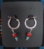 ZSold Laura Ingalls Designs: Earrings Coral and Turquoise SOLD