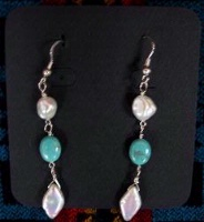 A Laura Ingalls Designs: Earrings Wires Turquoise and Pearls