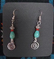 ZSold Laura Ingalls Designs: Earrings Wires Turquoise Teardrops and Swirls SOLD