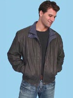 ZSold Scully Men's Leather Jacket: Casual Featherlite Wind Buffer Grey XL SOLD