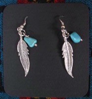 ZSold Laura Ingalls Designs: Earrings Wires Feathers with Turquoise Nuggets SOLD
