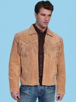Scully Men's Leather Jacket: Fringe Suede Zip Front Jacket Bourbon