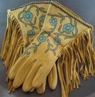 Patricia Wolf Gloves: Turquoise Roses on Gold