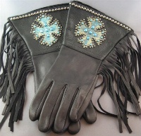 Patricia Wolf Gloves: Turquoise Celtic Cross on Black