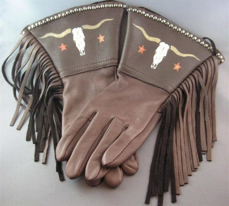 Patricia Wolf Gloves: Longhorns on Chocolate