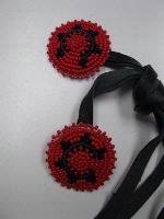 ZSold Navajo Hair Tie: Beaded Rosettes of Red and Black SOLD