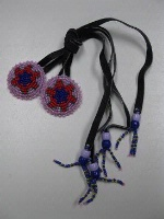 ZSold Navajo Hair Tie: Beaded Rosettes of Purple and Red SOLD